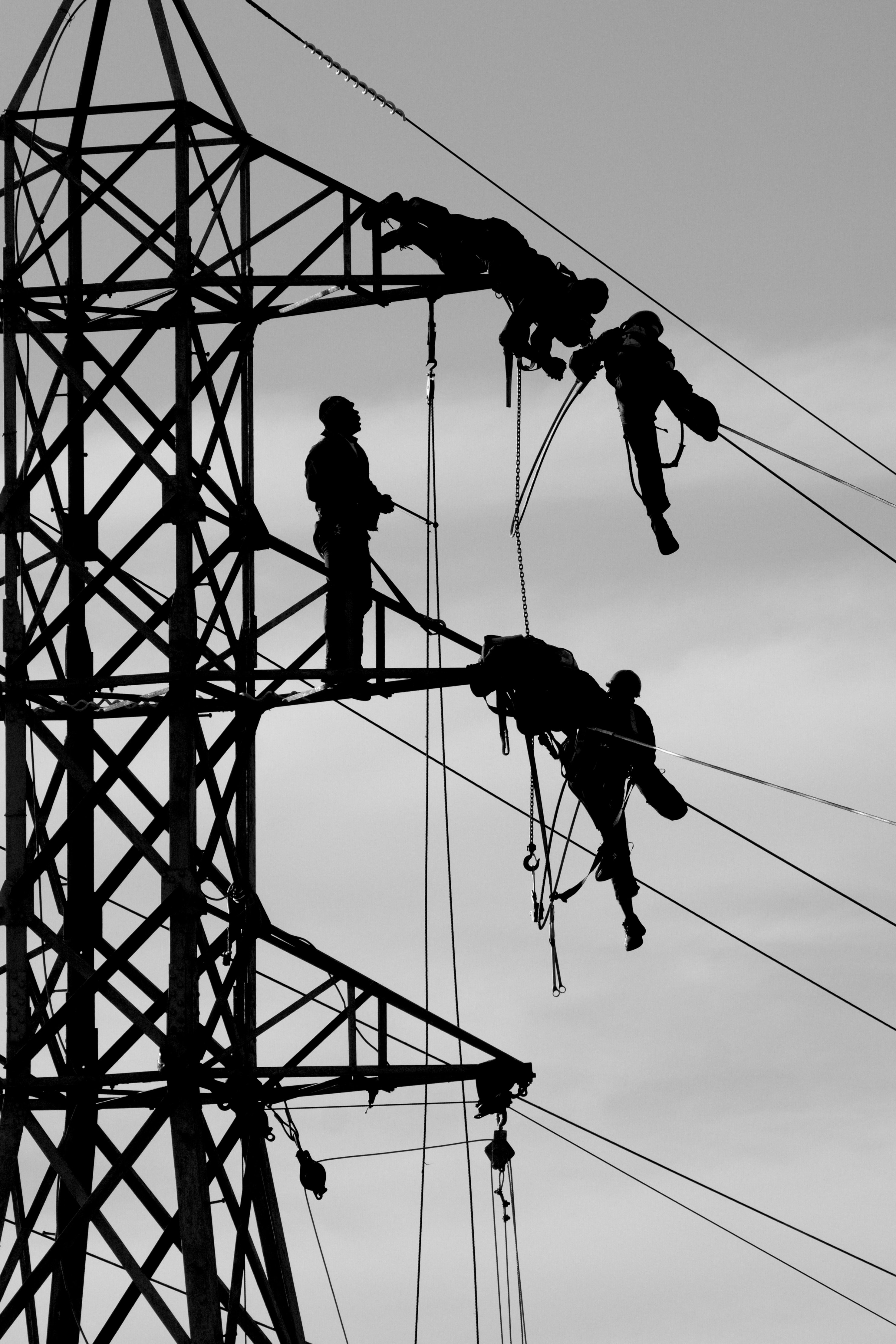 Utility workers conducting maintenance on power lines